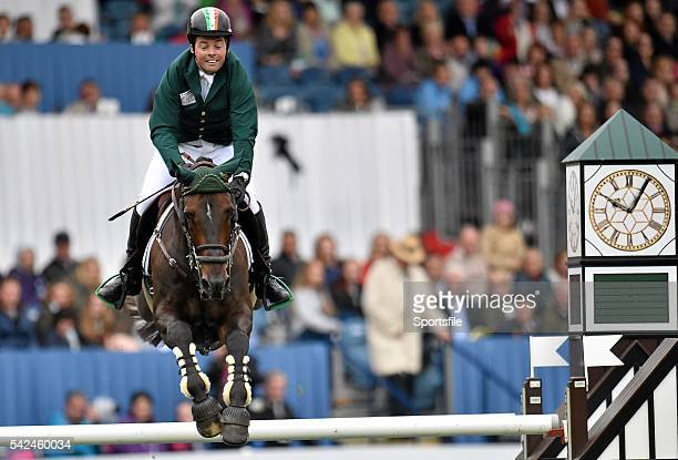 7 August 2015 Cian O'Connor Ireland clears the final fence on Good Luck to secure Ireland's victory in the Furusiyya FEI Nations Cup during the...