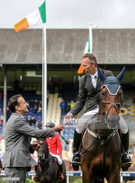 5 August 2015 Dermott Lennon Ireland is presented the winning rosette by Leo Varadkar TD Minister for Health after winning the Irish Sports Council...