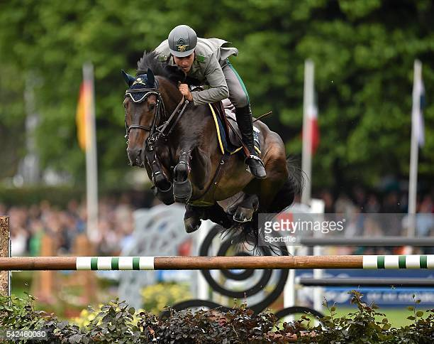 7 August 2015 Emanuele Guadiano Italy competes on Admara 2 in the Furusiyya FEI Nations Cup during the Discover Ireland Dublin Horse Show 2015 RDS...