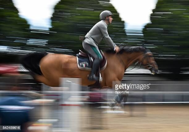 7 August 2015 Emanuele Guadiano Italy practices his jumps on Cocoshynsky before the day's competitions during the Discover Ireland Dublin Horse Show...