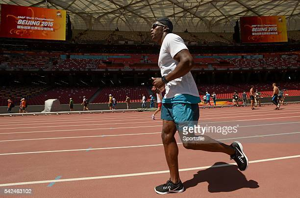 21 August 2015 Harry AikinesAryeetey of Great Britain ahead of the IAAF World Track Field Championships at the National Stadium Beijing China Picture...