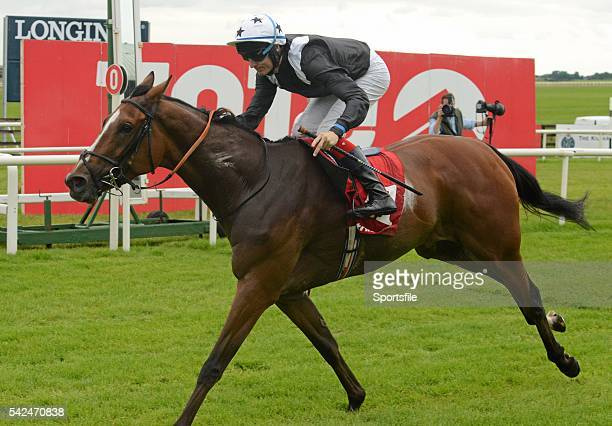 30 August 2015 Hint Of A Tint with Fran Berry up cross the finish line to win the Tote Irish Cambridgeshire Curragh Racecourse Curragh Co Kildare...