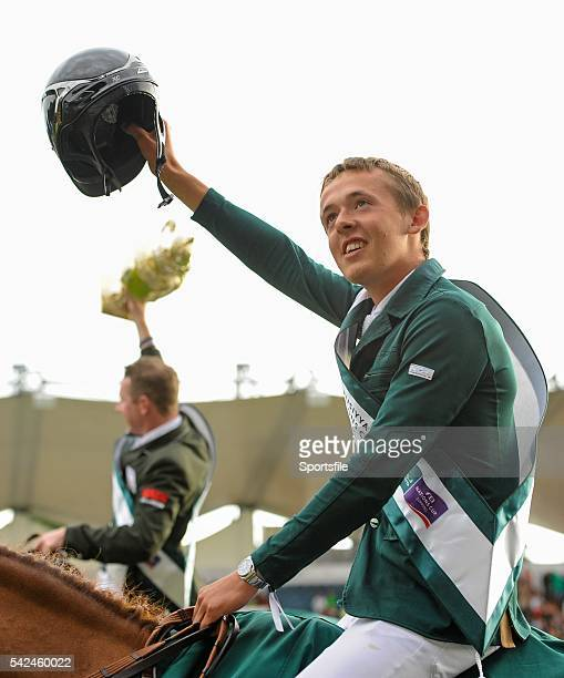 7 August 2015 Ireland's Bertram Allen waves to the crowd after Ireland won the Furusiyya FEI Nations Cup during the Discover Ireland Dublin Horse...
