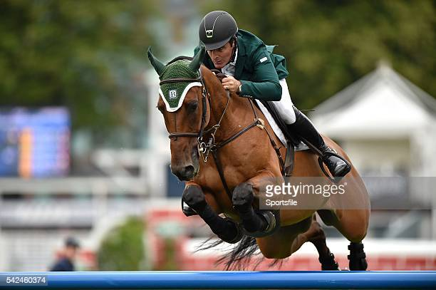 8 August 2015 Kevin Babington Ireland competing on Mark Q during the JLT Dublin Stakes during the Discover Ireland Dublin Horse Show 2015 RDS...