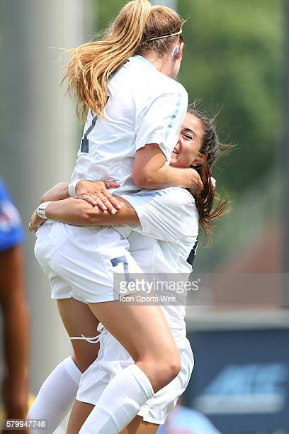 North Carolina's Annie Kingman celebrates her goal with Alex Kimball The University of North Carolina Tar Heels played the Fresno State Bulldogs at...