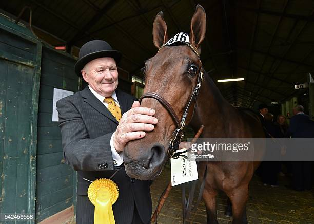 7 August 2015 Paul Horner from Lisburn Co Antrim with his horse Brookefields Empress an Irish sport horse in the stables during the Discover Ireland...
