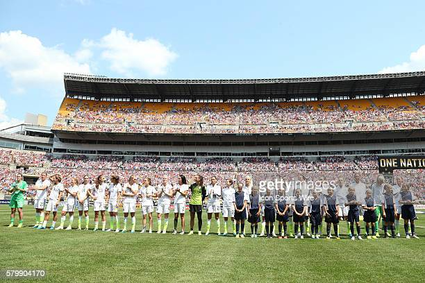 The US Women's World Cup team is introduced before the game From left Alyssa Naeher Abby Wambach Tobin Heath Lori Chalupny Morgan Brian Alex Morgan...