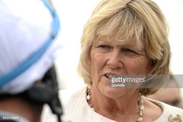 30 August 2015 Trainer Jessica Harrington talks with jockey Fran Berry in the parade ring after Berry won on her horse Bocca Baciata in the Dance...