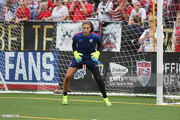 United States goalkeeper Hope Solo at the International Friendly between the United States and Costa Rica. The USA defeated Costa Rica by the score...