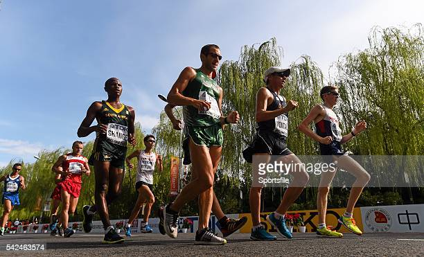 23 August 2015 Walkers from left Lebogang Shange of South Africa Alex Wright of Ireland José Leonardo Montana of Colombia and Tom Bosworth of Great...