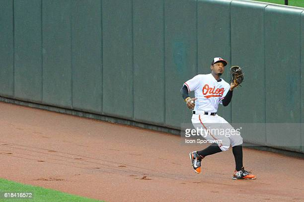 Baltimore Orioles center fielder Adam Jones runs down a fly ball against the Houston Astros at Orioles Park at Camden Yards in Baltimore, MD. Where...