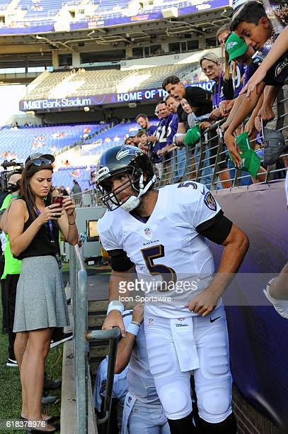 Baltimore Ravens quarterback Joe Flacco takes the field for the game against the Detroit Lions at MT Bank Stadium in Baltimore MD