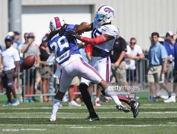 Buffalo Bills cornerback Ronald Darby defends Buffalo Bills wide receiver Greg Little during the Buffalo Bills Training Camp practice at St John...