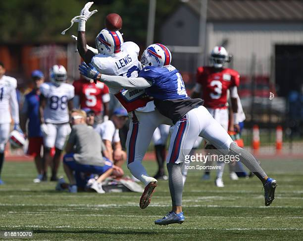 Buffalo Bills cornerback Stephon Gilmore defends Buffalo Bills wide receiver Dezmin Lewis during the Buffalo Bills Training Camp practice at St John...