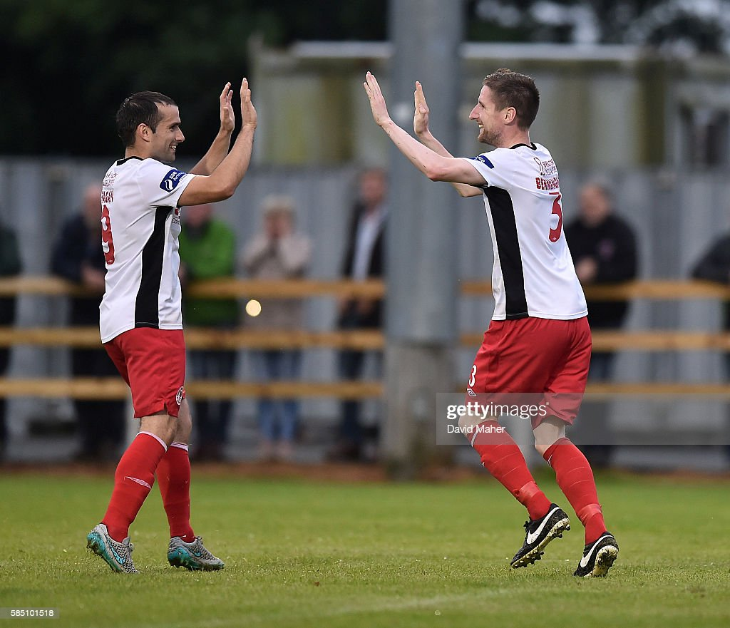 1 August 2016; Ian Bermingham, right of St.Patrick's Athletic celebrate's after scoring his side's first goal with teammate Christy Fagan during the SSE Airtricity League Premier Division match between Wexford Youths and St. Patrick's Athletic at Ferrycarrig Park in Wexford. (Photo By David Maher/Sportsfile