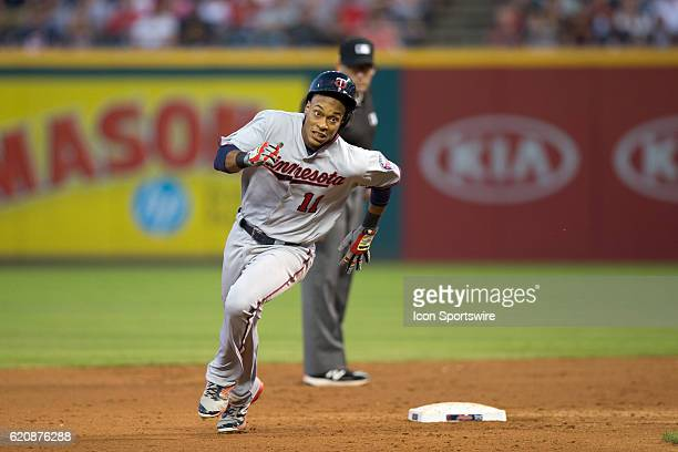 Minnesota Twins Infield Jorge Polanco [8979] rounds the bases as he hits his scone triple of the game during the fifth inning of the Major League...