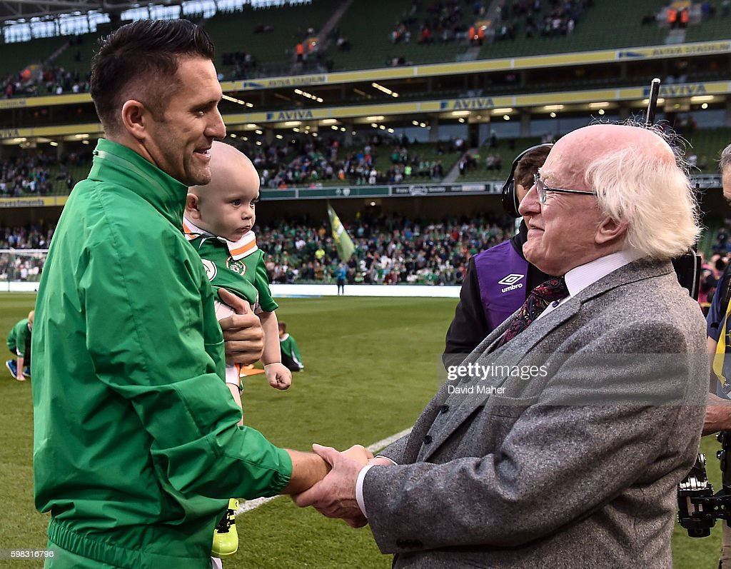 31 August 2016; Robbie Keane of Republic of Ireland is greeted by the President of Ireland Michael D. Higgins during the Three International Friendly game between the Republic of Ireland and Oman at the Aviva Stadium in Lansdowne Road, Dublin. (Photo By David Maher/Sportsfile