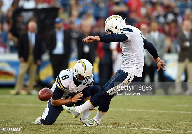 San Diego Chargers Place Kicker Josh Lambo [16316] kicks the ball through the uprights as San Diego Chargers Punter Drew Kaser [21246] holds it...