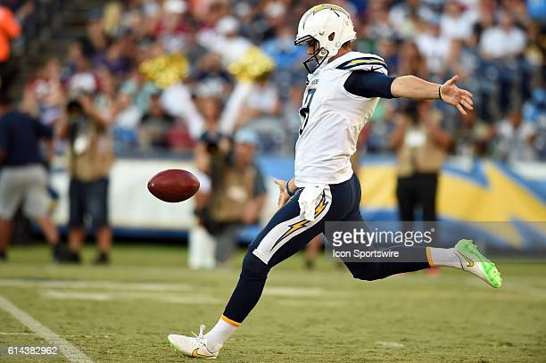 San Diego Chargers Punter Drew Kaser [21246] puns the ball during an NFL preseason game between the Arizona Cardinals and the San Diego Chargers at...