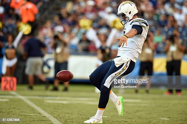 San Diego Chargers Punter Drew Kaser [21246] punts the ball during an NFL preseason game between the Arizona Cardinals and the San Diego Chargers at...