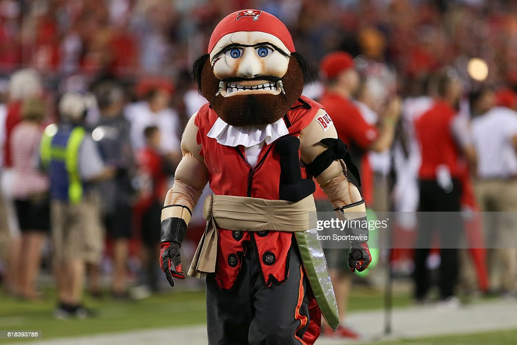 Tampa Bay Buccaneers mascot Captain Fear during the preseason NFL game between the Cleveland Browns and Tampa Bay Buccaneers at Raymond James Stadium in Tampa, FL.