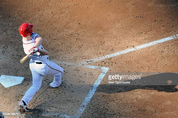 Washington Nationals first baseman Daniel Murphy hits an RBI double against the Cleveland Indians at Nationals Park in Washington DC