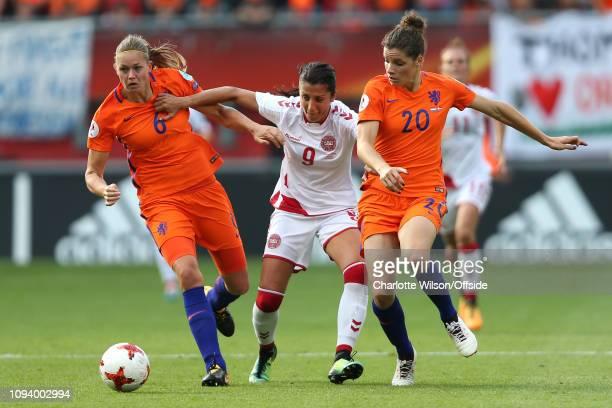 August 2017 - UEFA Womens EURO 2017 Final - Netherlands v Denmark - Anouk Dekker of Netherlands Women, Nadia Nadim of Denmark Women and Dominique...