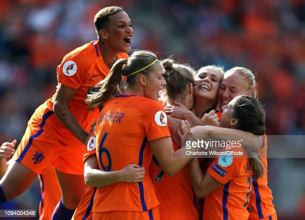 August 2017 - UEFA Womens EURO 2017 Final - Netherlands v Denmark - Lieke Martens of Netherlands Women celebrates scoring their 2nd goal with her...