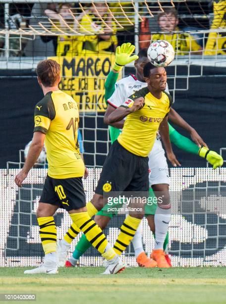 Soccer test games BVB summer training camp 2018 Borussia Dortmund Stade Rennes in the Cashpoint Arena Dortmund's Abdou Diallo heads the ball away...