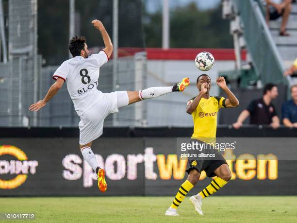 Soccer test games BVB summer training camp 2018 Borussia Dortmund Stade Rennes in the Cashpoint Arena Rennes Clement Grenier against Dortmund's Abdou...