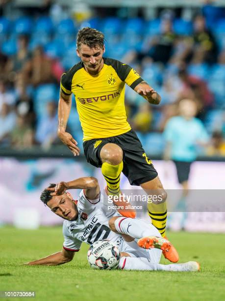 soccer test games BVB summer training camp 2018 Borussia Dortmund vs Stade Rennes in the Cashpoint Arena Rennes' Ramy Bensebaini and Maximilian...