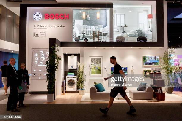 """August 2018, Berlin, Germany: A living space situation has been set up at the Bosch stand at the IFA electronics trade fair. The """"Consumer..."""