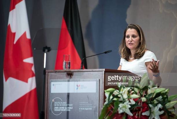 Chrystia Freeland Foreign Minister of Canada speaks at the opening of the Ambassadors' Conference at the Federal Foreign Office At the conference...