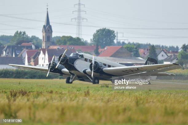 A Ju52 passenger aircraft of the airline JuAir drives to the parking position after landing at the glider airfield It is the airline's first flight...