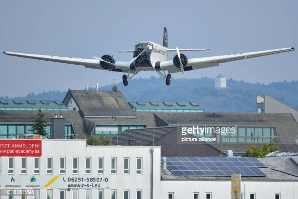 A Ju52 passenger aircraft of the airline JuAir approaches the gliding field for landing It is the airline's first flight after the crash of one of...
