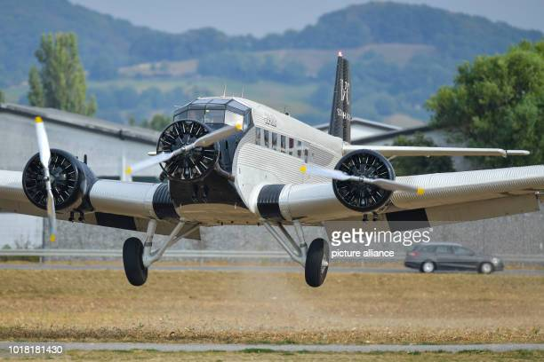 A Ju52 passenger aircraft of the airline JuAir lands at the glider airfield It is the airline's first flight after the crash of one of its classic...