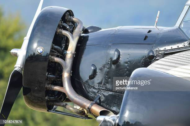 View of the engine of a Ju52 passenger aircraft of the airline JuAir after landing at the glider airfield It is the airline's first flight after the...