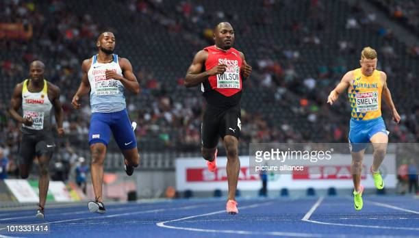 Athletics European Championships in the Olympic Stadium 200 m semifinal men Aleixo Platini Menga from Germany Nethaneel MitchellBlake from Great...