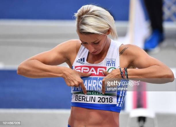 Athletics European Championships in the Olympic Stadium triple jump women final Paraskevi Papachristou from Greece gesticulates Photo Bernd...