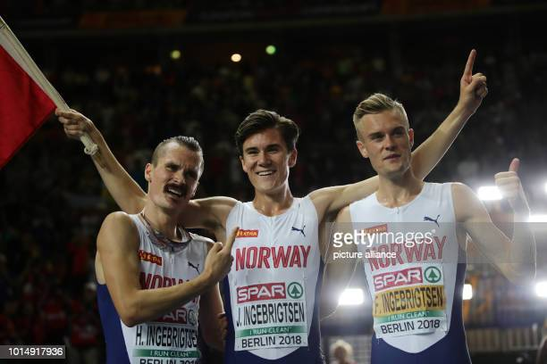 Athletics European Championships in the Olympic Stadium 1500 m Men Final Gold medal winner Jakob Ingebrigtsen from Norway with Filip Ingebrigtsen...