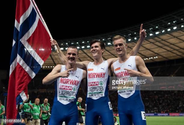 Athletics European Championships in the Olympic Stadium 1500 m final men Henrik Ingebrigtsen from Norway gold medallist Jakob Ingebrigtsen from...