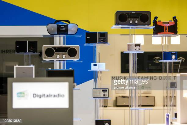 """August 2018, Germany, Berlin: Digital radios are on display at TechniSat's stand at the IFA electronics trade fair. The """"Consumer Electronics..."""
