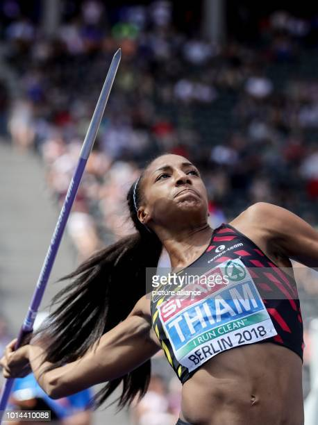 European Athletics Championships in the Olympic Stadium Heptathlon Javelin Women Nafissatou Thiam from Belgium throws the spear Photo Michael...