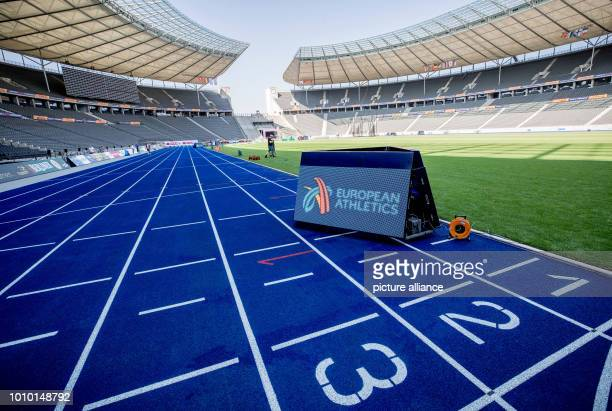 August 2018, Germany, Berlin: The blue track, photographed during the preparations in the Olympic Stadium before the European Athletics Championships...