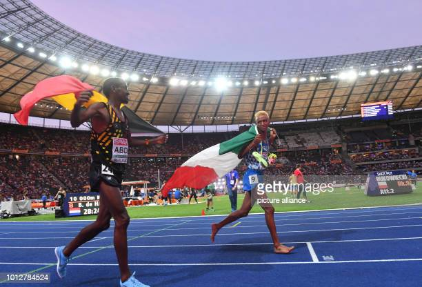Track and Field European Athletics Championships in the Olympic Stadium 10000 m final men silver medallist Bashir Abdi from Belgium and bronze...