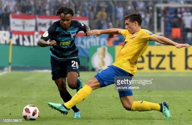 20 August 2018 Germany Braunschweig Football DFB Cup 1st round Eintracht Braunschweig Hertha BSC Berlin in the Eintracht Stadium Braunschweig's Malte...