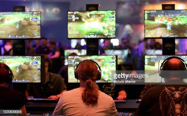 """August 2018, Germany, Cologne: Visitors to Gamescom play """"World of Warcraft"""" by game developer Blizzard Entertainment. For the tenth time the..."""