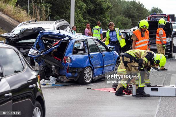 05 August 2018 Germany Falkensee/Havelland On Sunday noon rearend collisions on the A 10 motorway stopped traffic towards Hamburg for several hours A...