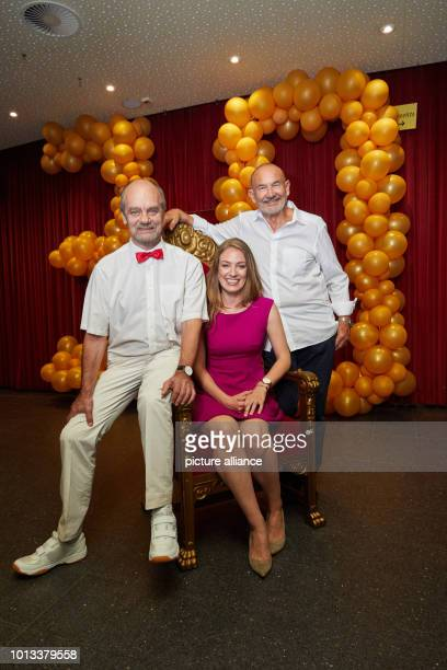 Corny Littmann managing partner of the Schmidt Theatre comanager Tessa Aust and copartner Norbert Aust are in the foyer of the Schmidt Theatre after...