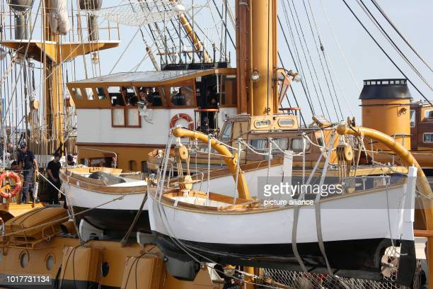 The Italian sailing training ship 'Amerigo Vespucci' moors at the overseas bridge in the harbour The legendary sailing training ship came with 326...